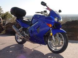 Beth's 98 VFR 800, OEM blue bodywork and stripped rims
